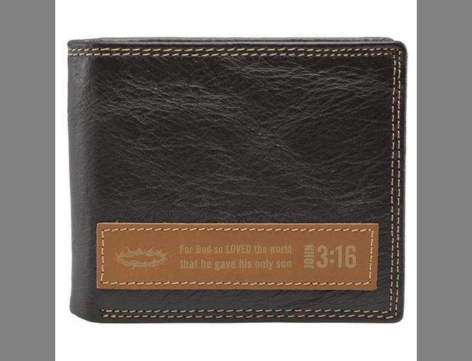Dark Brown Genuine Leather Wallet w/Applique - John 3:16