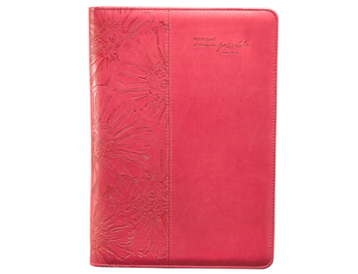 """Pink """"All Things Are Possible"""" Legal Size Zippered Portfolio - Matthew 19:26"""