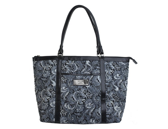 Gray Quilted Paisley Tote Bag w/