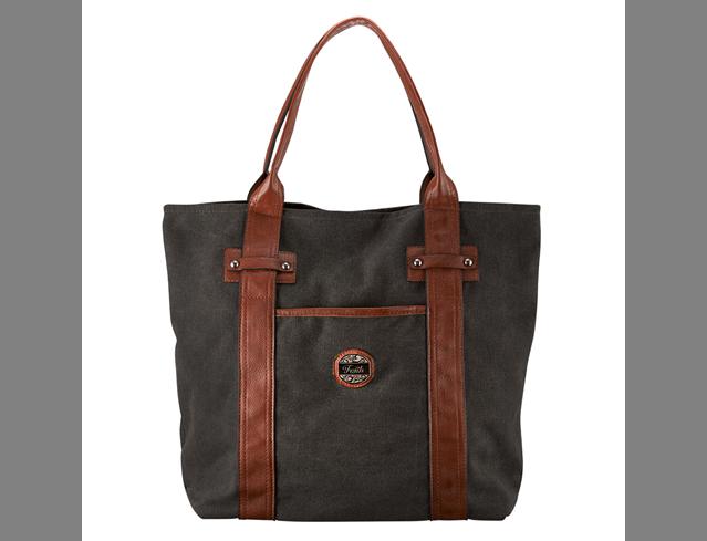 Black & Tan Fashion Canvas Tote Bag w/