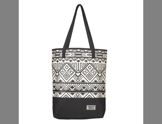 Black & White Geometric Canvas Tote Bag w/