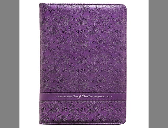 Purple Floral Legal Size Zippered Portfolio - Philippians 4:13