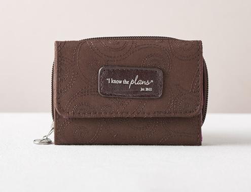 Brown/Purple Microfiber Wallet Jer 29:11