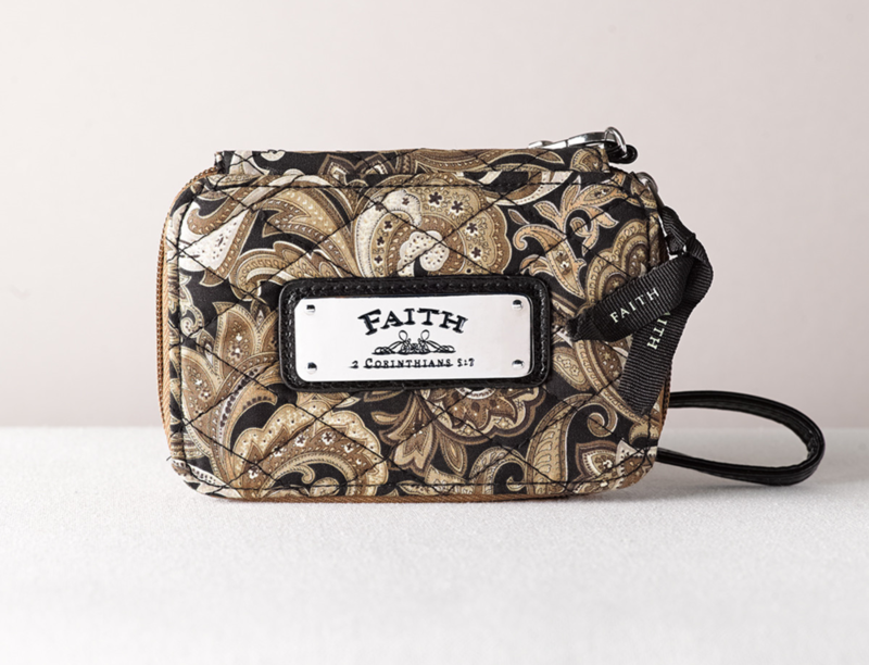 Quilted Paisley All-in-One Wristlet w/
