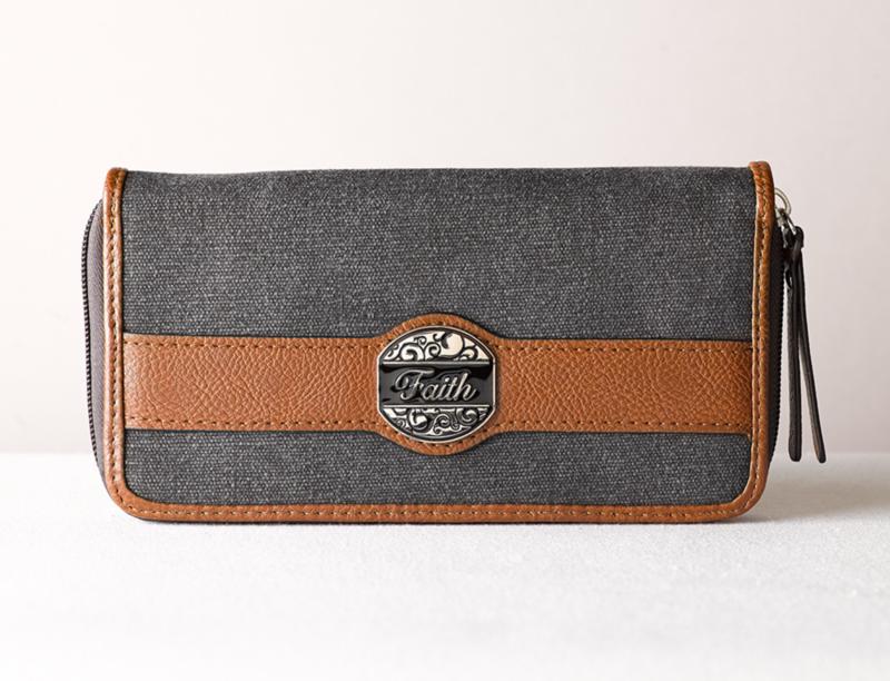Black & Tan Fashion Canvas Zippered Clutch Wallet Ensemble w/