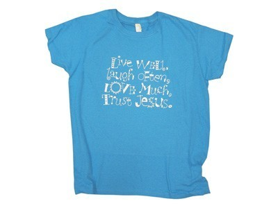 LIVE WELL WH/CARIBBEAN BLUE LADIES TSHIRTS