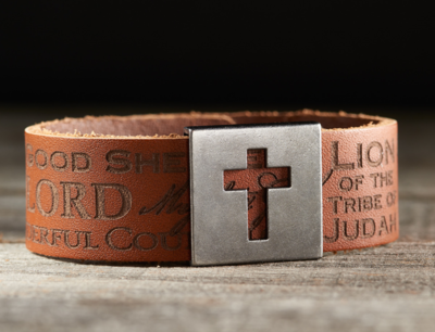 Leather Names of Jesus Christian Wristband w/Metal Cross Slide