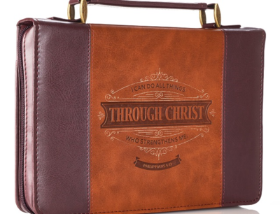 """""""THROUGH CHRIST"""" TWO-TONE BIBLE COVER"""