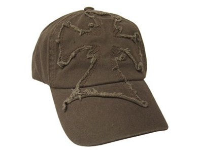 CAP BROWN FRAYED CROSS