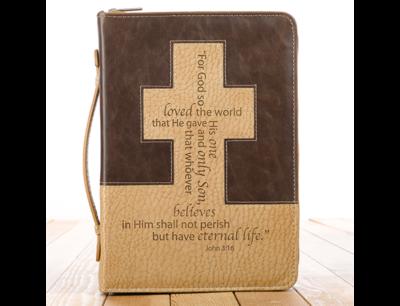 """JOHN 3: 16"" BIBLE COVER IN BROWN AND TAN"