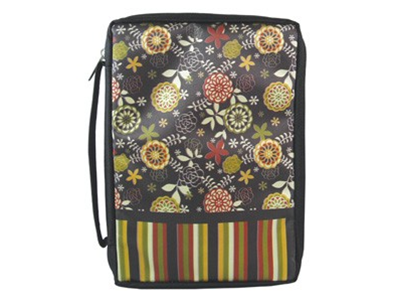 BIBLE COVER BLACK FLORAL WITH STRIPES L