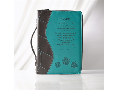 """""""HOPE"""" LUXLEATHER BIBLE COVER IN TURQUOISE"""