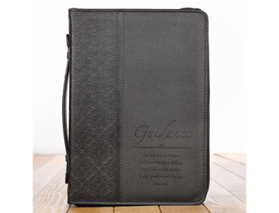 """""""GUIDANCE"""" LUXLEATHER BIBLE COVER IN BLACK"""