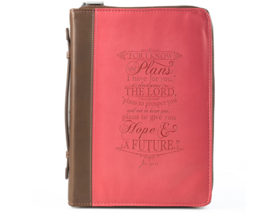 """""""I KNOW THE PLANS"""" PINK & BROWN BIBLE COVER"""