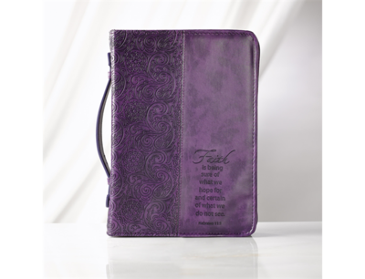 """""""FAITH"""" LUXLEATHER BIBLE COVER IN PURPLE"""