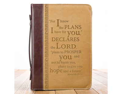 """""""I KNOW THE PLANS"""" TWO-TONE BIBLE COVER IN TAN"""