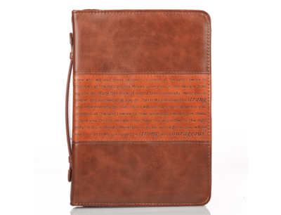"""""""BE STRONG AND COURAGEOUS"""" BIBLE COVER IN BROWN"""