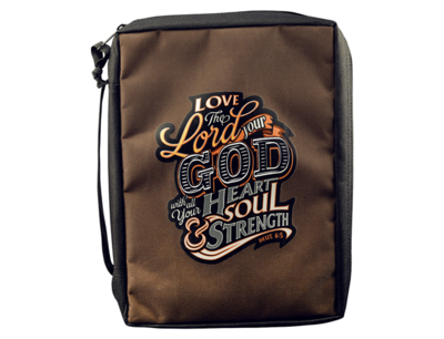 """""""LOVE THE LORD YOUR GOD"""" POLY-CANVAS BIBLE COVER"""