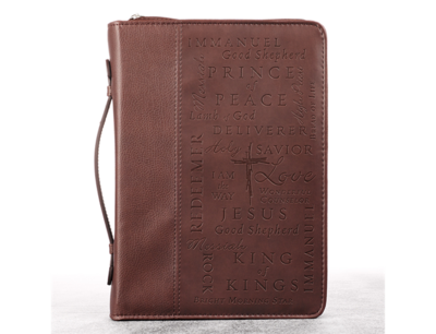 """""""NAMES OF JESUS"""" TWO-TONE BIBLE COVER IN BURGUNDY"""