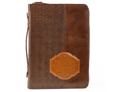 """""""I KNOW THE PLANS"""" BIBLE COVER IN BROWN LUXLEATHER"""