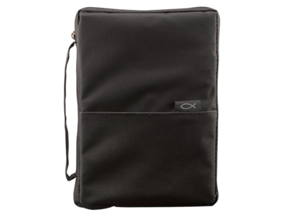 BLACK THINLINE POLY-CANVAS BIBLE COVER WITH FISH TAG