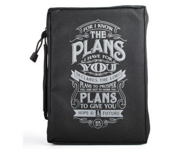 BLACK POLY-CANVAS BIBLE COVER FEATURING JEREMIAH 29:11