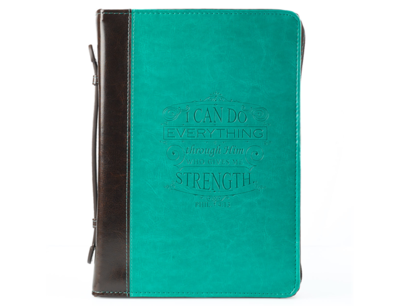 """""""I CAN DO EVERYTHING THROUGH HIM"""" TURQUOISE & BROWN BIBLE COVER - PHILIPPIANS 4:13"""