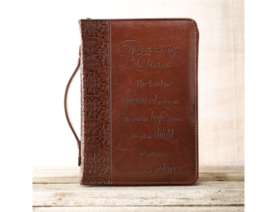 """""""AMAZING GRACE"""" BIBLE COVER IN BROWN"""