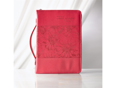 """""""ALL THINGS ARE POSSIBLE"""" LUXLEATHER BIBLE COVER IN PINK"""
