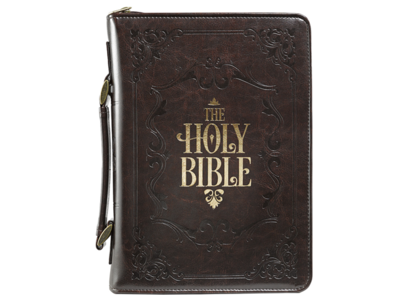 """""""HOLY BIBLE"""" BIBLE COVER IN BROWN"""