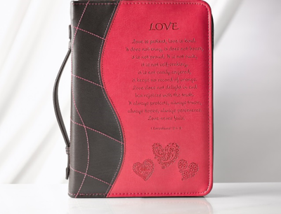 """""""LOVE"""" LUXLEATHER BIBLE COVER IN PINK"""