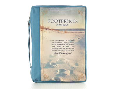 """""""FOOTPRINTS"""" POLY CANVAS BIBLE COVER"""