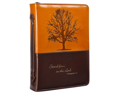 """""""STAND FIRM IN THE LORD"""" BIBLE COVER IN BROWN"""