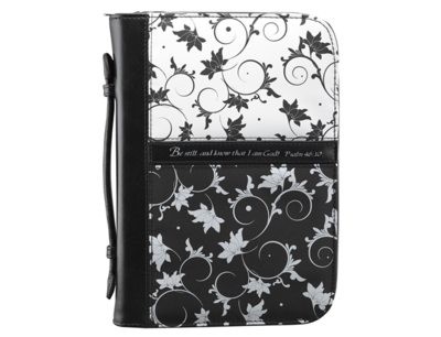BLACK & WHITE FLORAL BIBLE COVER FEATURING PSALM 46:10