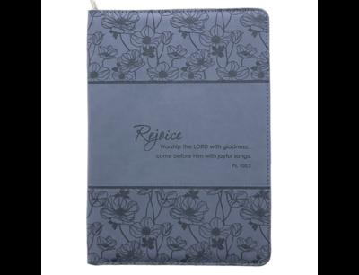 """Rejoice"" Blue Legal Size Zippered Portfolio - Psalm 100:2"