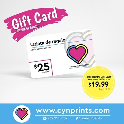 Gift card / tarjeta de regalo