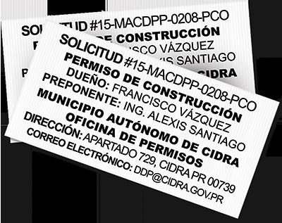 Rotulo de permiso de obra / construcción