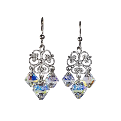 Sterling Silver Fili Crystal Chandelier Earrings