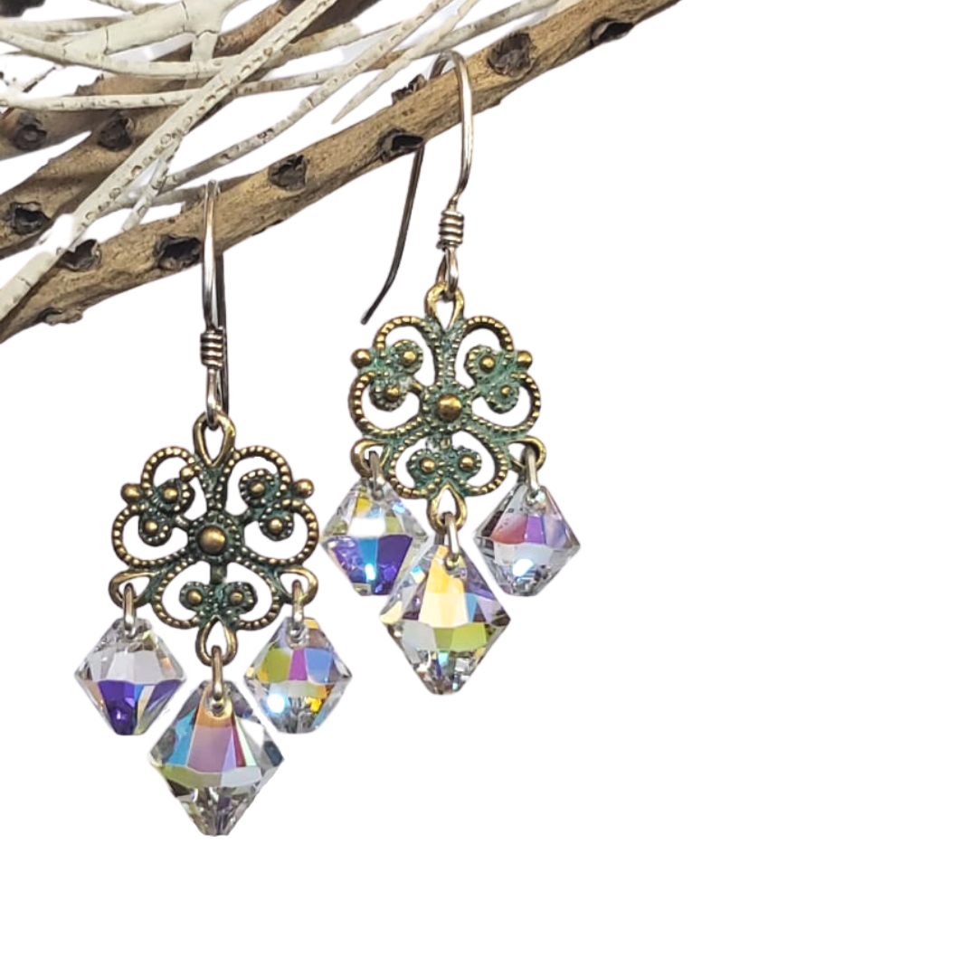 Aged Bronze and Silver Fili Chandelier Earrings