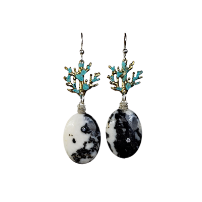 Zebra Jasper Coral Branches Earrings with White Zirconia