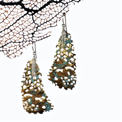 Angular Aged Bronze Sea fan Earrings