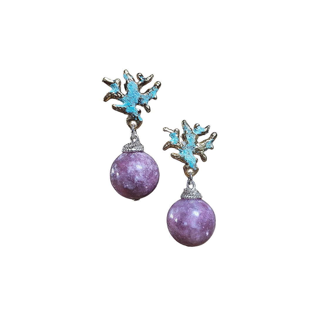 Baby Coral Branches Lepidolite earrings