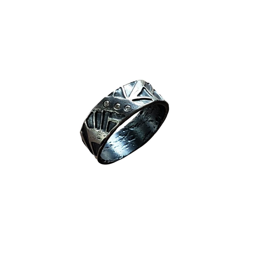 1044 Triple Diamond Wide Band Tribal Ring