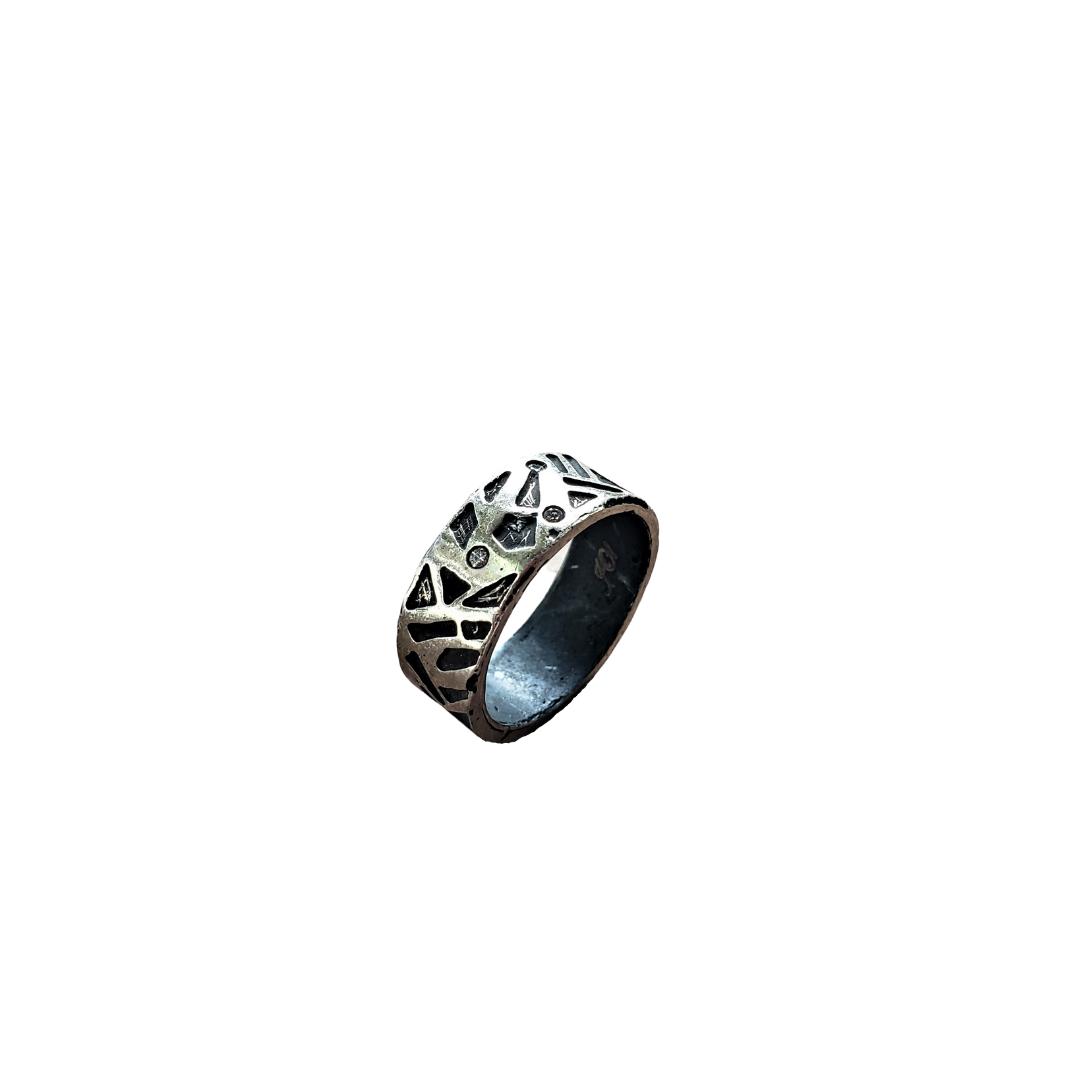 1044C Triple Diamond Wide Band Tribal Ring