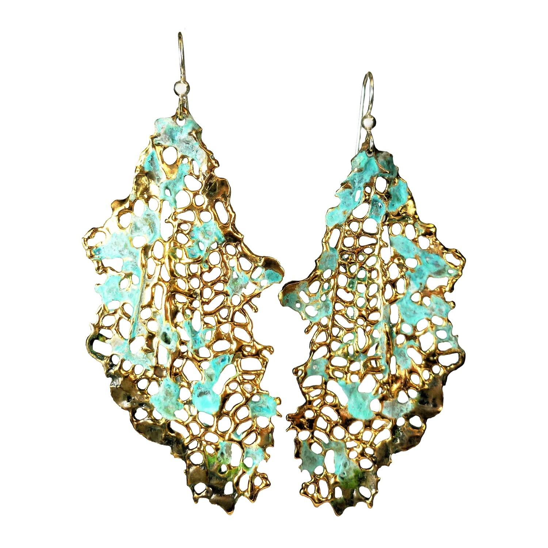 Large Silver and Aged Bronze Sea fan Earrings