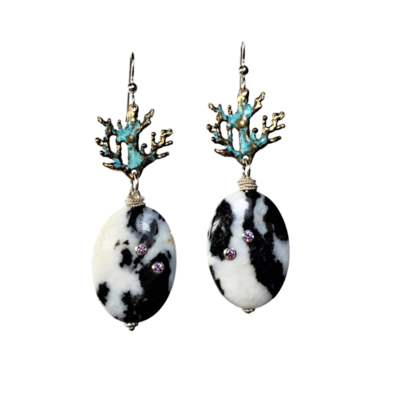 Zebra Jasper Coral Branches Earrings with Amethyst Zirconia