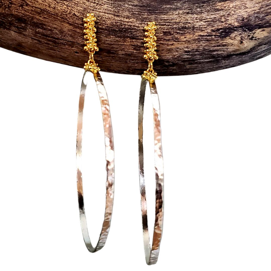 Large Caviar Hoop Earrings