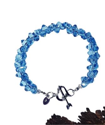 Aqua Crystal Cluster Bracelet (Small)