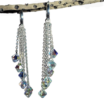 Long Crystal Sweep Earrings