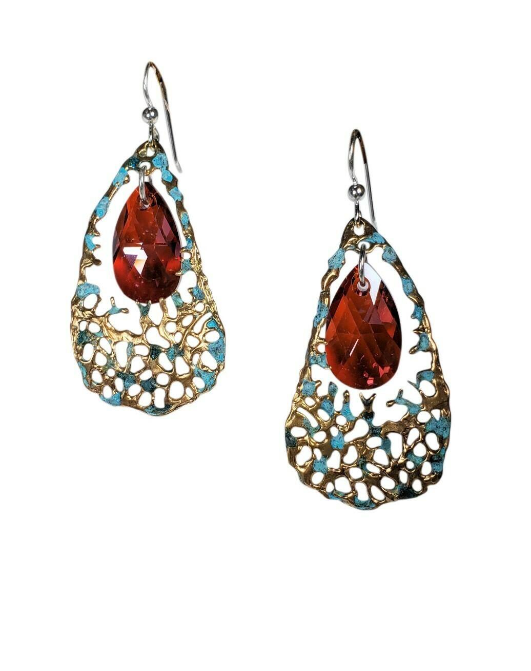 Aged Bronze Sea fan Lava Earrings